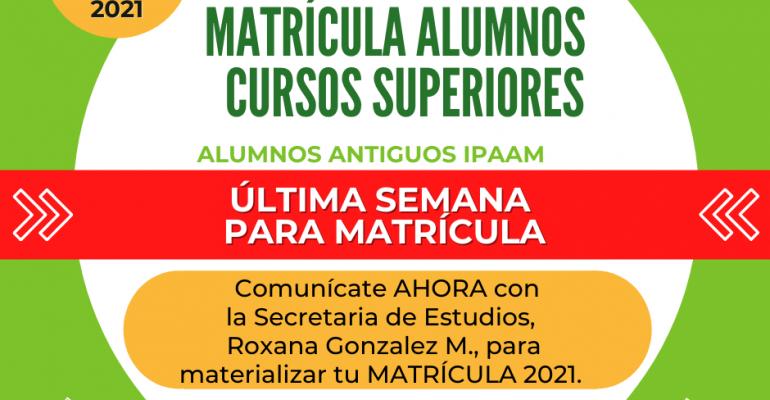 Post Facebook Última Semana Matrícula Cursos Superiores 25-01-2021