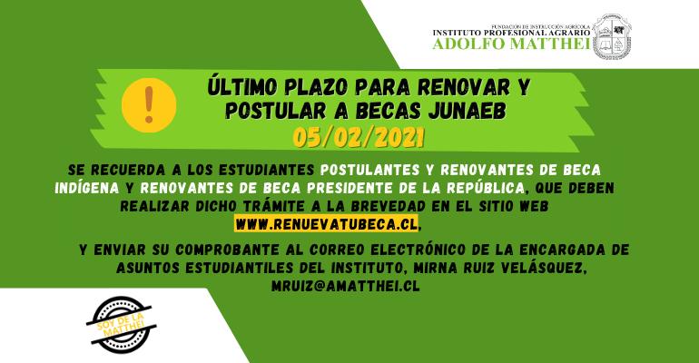 Imagen Nota Último Plazo Renovantes Postulantes Becas Junaeb 03-02-2021
